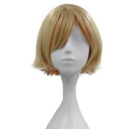 Blonde Short Hair Wig UK - Short Straight Ombre Blonde Bob Hair Wig Synthetic Side Part Wig Two Tone