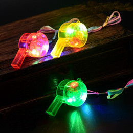 $enCountryForm.capitalKeyWord Australia - Glowing whistle Flashing Whistle Colorful Lanyard LED Light Up Fun In the Dark Party Rave Kids Toy Funny Gadgets with box gift