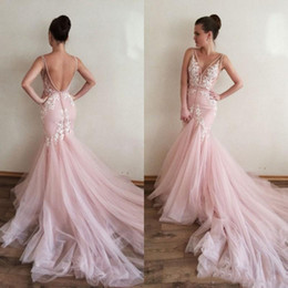Lavender Blush Wedding Dress Australia - Fashion Blush Pink Lace Mermaid Wedding Dresses Bridal Gowns Deep V neck White Applique V Backless Tulle Court Train Wedding Gowns Cheap