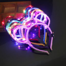 Wholesale Hot LED flashing Light up Beautiful Hair decoration LED Plum Ears Style crown bride hair accessories led wedding party headband colorful