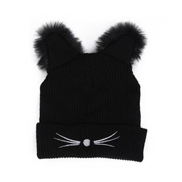 eaef0316961bc Warm Winter Hat Fashion Lovely Cat Ear For Women Harajuku Wool Knitted Hats  Skullies Female Beanies Bonnet Faux Mink
