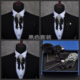 $enCountryForm.capitalKeyWord Australia - Free Shipping Mens Male Fashion Diamond High-end Bow Groom Groomsmen Wedding Collar Accessories Tie Rose Brooch Pocket Towel Set MX190817