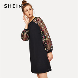 4c946e411b wholesale Weekend Casual Modern Lady Black Flower Embroidered Mesh Contrast  Long Sleeve Short Dress Women Autumn Elegant Dress