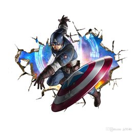 $enCountryForm.capitalKeyWord Australia - High Quality American Captain 3D Wall Decals PVC The Avengers Wall Poster Superhero Stickers for Kids Room Wall Decor
