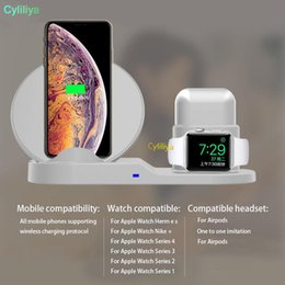 Qi For Iphone Australia - QI Wireless Charger Stand For IPhone 8 Plus X XS Max XR Wireless Charging Dock Station 3 In 1 For Apple AirPods Apple Watch 2 3 4 + box