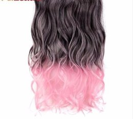 blue synthetic hair UK - 2019 Long Body Wave Halloween Hair 5 Clips In Hair Extensions Pink Blue High Temperature Synthetic Fiber For Women