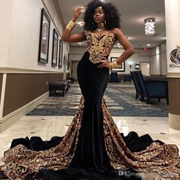 girl occasion dress chiffon Canada - Gold Sequined Mermaid Prom Dresses V Neck South African Black Girls Evening Gowns Plus Size Special Occasion Dress Abendkleider 2K19