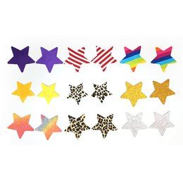 Wholesale Pentagram Disposable Adhesive Breast Pasties Women Breathable Invisible Chest Stickers Rainbow Nipple Stickers Concealer Design HHA183