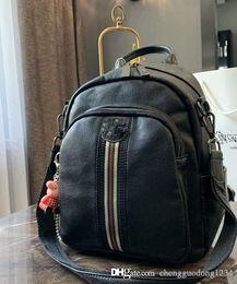 $enCountryForm.capitalKeyWord NZ - The New Han Edition Leather Backpack Packet Stripe Leisure Hand Carry One Shoulder Bag Woman Handbag Black Designer Stylish School Bagpack