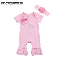 Baby Girls 3d Tutu Australia - Newborn Baby Girls 3D Flower Ruffle Short Sleeves Romper Jumpsuit+Floral Headband Outfit Clothes