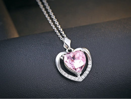 9758b1757fc0da pink crystal heart pendants 925 sterling silver necklace ladies jewelry  woman love open hollow ocean blue diamond fashion causal 23x17mm 1pc