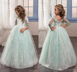 mint silver flower girl dresses UK - Newest Mint Ball Gown Flower Girl Dresses Lace Appliques Tulle Floor Length Vintage Girl Pageant Dress with Long Trumpet Sleeves