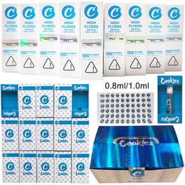 Cookies Vape Cartuchos Atomizadores de empaquetadores 0.8ml 1 ml Vidrio de cerámica Aceite grueso DAB Pen Wax Vaporizador Carros Atomizador E Cigarrillos 510 Hilo Vacío en venta