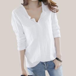 Sexy V Neck Long T Shirt Australia - Women T Shirt 2018 Autumn Femme Tshirt Fashion Sexy V Neck Cotton Solid Tops Casual Female Long Sleeve T-shirts Camisetas Mujer Y19051301