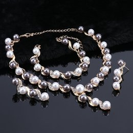 $enCountryForm.capitalKeyWord Australia - Women Imitated Crystal Simulated Pearl Jewelry Sets Gold Color Pendant Wedding Accessories Earrings Bracelets Necklace