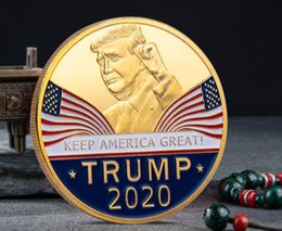 folk art wood UK - 2020 Donald Trump Commemorative Coin Keep America Great American President Avatar Gold Coins Silver Badge Metal Craft Collection Republican