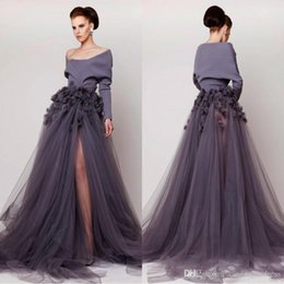 $enCountryForm.capitalKeyWord Australia - Azzi & Osta Off Shoulder 2019 Evening Dresses Hand Made Flower Long Sleeves Side Split Tulle Prom Gowns Fashion Sweep Train Maxi Dress