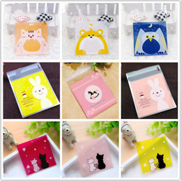 plastic gift pack pouch 2019 - Event Party Gift Boxes Bags 7x7cm Small Cute Rabbit Plastic Bags Wedding Decoration Self Adhesive Candy Bag Gift Packing