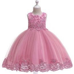 Chinese  Girls new short-sleeved dress lace beaded bow princess dress twill jacquard tutu flower girl dress manufacturers