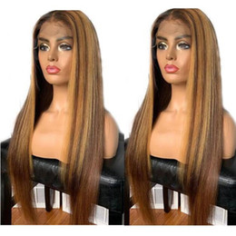 Free shipping brazilian virgin hair online shopping - Celebrity Wigs Lace Front Wig Straight A Omber Highlight Color Mongolian Virgin Human Hair Full Lace Wig for Black Woman