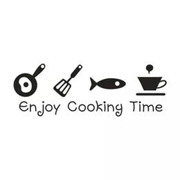 kitchen window stickers 2019 - 60*20CM Cartoon ENJOY COOKING TIME Kitchen Vinyl Decal Wall Sticker CA-1155