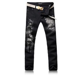 men pants size 38 UK - ORINERY Size 28-38 Hot Sale Leopard Printed Skinny Jeans Men Fashion Black Denim Pants High Quality Mens Clothes Long Trousers