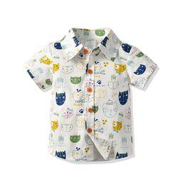 $enCountryForm.capitalKeyWord Australia - Summer Baby Boys Blouse Shirts Beach Casual Short Sleeve Cat Printed Cotton Toddler Tops Cardigan Kids Clothes