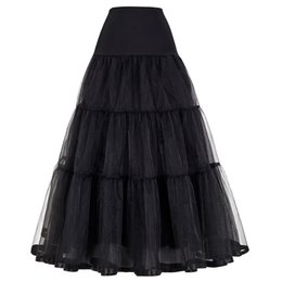 Woman s petticoat online shopping - Women Black Red Retro Skirt For Wedding Fashion Vintage Long Skirts Crinoline Underskirt Ball Gown Empire Voile Tulle Petticoat Y190411