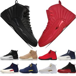 f08c54de7b0ede Hot 12s Winterized WNTR Gym Red Michigan Mens Basketball Shoes The Master  Flu Game Taxi College Navy 12 men sport sneakers designer trainers