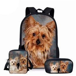 $enCountryForm.capitalKeyWord Australia - NOISYDESIGNS Yorkshire Terrier Dog Prints Bag for Student Kids School Bag 3Pcs Set Children Book Bags Boys Girls School Backpack