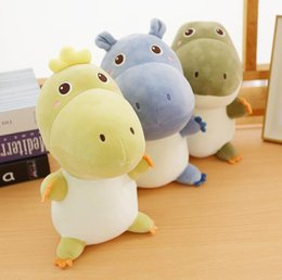dinosaur stuffed animals wholesale UK - Cute Hippos Crocodiles Dinosaurs Stuffed Animals plush toy Cartoon Plush Doll Yellow Green Gift Birthday gift Soft Lovely kids toys