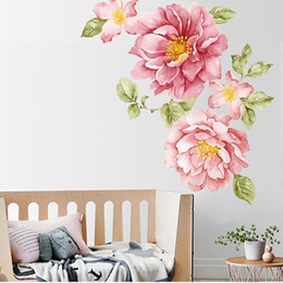 kids decor wall art Australia - Peony Rose Flowers Wall Sticker Art Nursery Decals Kids Room Home Decor Gift wall stickers for kids rooms room decoration