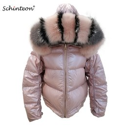 пуховик капот женщина оптовых-2019 Schinteon Women White Duck Down Jacket Big Real Collar Hood Winter Outwear Reversible Two Side Wear Waterproof Coat