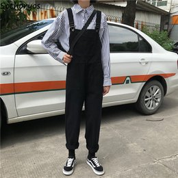 long jumpsuits xs NZ - Jumpsuits Women Retro Loose Student Korean Style Strap Denim Jumpsuit Womens Fashion Simple Solid All-match Casual Chic Trousers T190823