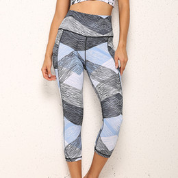 ladies wearing yoga pants Australia - Geometry Print Exercise Leggings Lady Sexy Yoga Outfits Women Skinny Yoga Pants Mid Waist Active Wear Lift Butts Fitness Capris