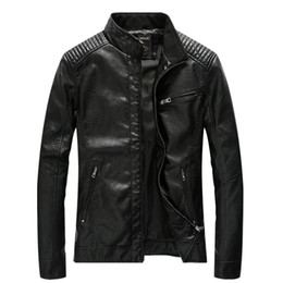 Pilot Motorcycle Jacket Australia - Leather Jacket Men Casual Slim Fit Stand Collar Washed PU Faux Leather Coats Classic Mens Motorcycle Bomber Pilot Jackets 5XL