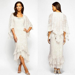 pastel yellow long sleeve dress NZ - 2019 Trumpet Mermaid High Low Lace Chiffon Evening Dress Beaded Scoop Neck Tea Length Mother of the Bride Dresses With Long Sleeve Jacket