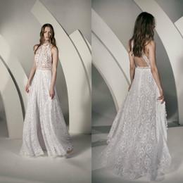 $enCountryForm.capitalKeyWord Australia - 2020 Bohemian Wedding Dresses A Line Lace Appliqued Backless Halter Boho Wedding Gowns Sweep Train Custom Made Tulle Beach Bridal Dress