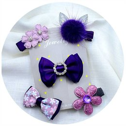 flower headdress for babies Canada - 5PCS set Baby Girls Bow Hairpins Hair Clip for girls Barrettes Flower Headdress Children Princess