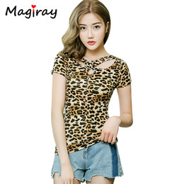 9c86323450cadc Magiray Leopard Print V Neck Sexy T-shirt Women Keyhole Cut Out Club Casual  2019 Summer Top White Plus Size Tee Shirt Femme C228 J190410