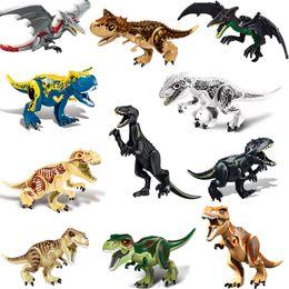 Large Plastic Blocks Australia - 11 Styles Large Dinosaur Building Blocks 3D Assembly ABS Plastic Dunosaur Miniature Action Figures Jurassic Park Model DHL Free