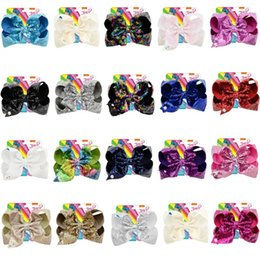 Baby Sequin Hair Clips Wholesale Australia - 8'' JOJO Siwa Sequin Hair Bow Clips for Girl 20Colors Handmade Rainbow Dance Party Kids Boutique Hair Accessories for Babies with Retail Bag