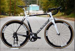 Road Saddle Carbon Australia - C64 White Road complete Full Bike glossy matte white 50mm carbon wheelset COLNAGO saddle bar tape