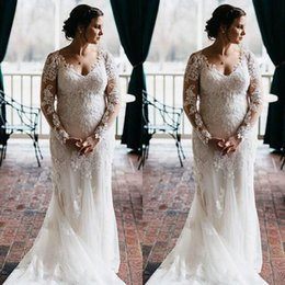 plus size mermaid shirt Australia - 2019 Plus Size Mermaid Wedding Dresses Long Sleeves Beaded Lace Illusion Bridal Dress Sexy Vintage Wedding Gowns Vestidos De Mariee