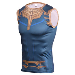 Wholesale Avengers Thanos d Tank Top Men Compression Base Layer Sleeveless Summer Vest Gyms Fitness Tights Crossfit Tops Tees