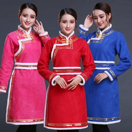 353496b5fb Traditional Chinese gown Woman Asian National Dress Mongolia style tang suit  Top Cosplay lady fancy costume oriental ethnic clothing