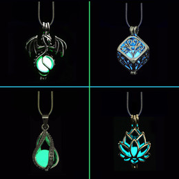 glow pendants Australia - Novel DIY Cage Glow In Dark Necklace Diffuser Locket Pendant Necklace For Men Women Party Hallowen Gifts Essential Oil