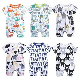 Chinese  Baby romper kids summer cartoon printed cotton short-sleeve breathable onesies one piece jumpsuits rompers 0-24 months toddler bodysuit manufacturers