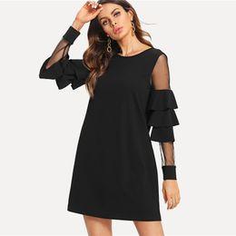 43fb7e76756963 Schwarze damen gerade kleid online-Sheinside Rüschen Langarm Schwarz A Line  Work Dresses Damen Kontrast