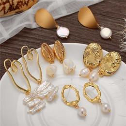 Freshwater pearl drop earrings online shopping - IF ME Gold Irregular Freshwater Earrings With Pearl Vintage Long Geometric Statement Baroque Dangle Earring Drops Jewelry